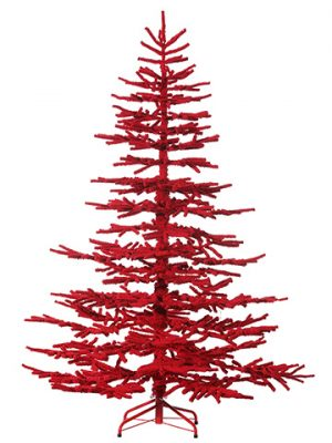 "7'Hx57""D Flock Pine Tree x964on Metal StandRed"