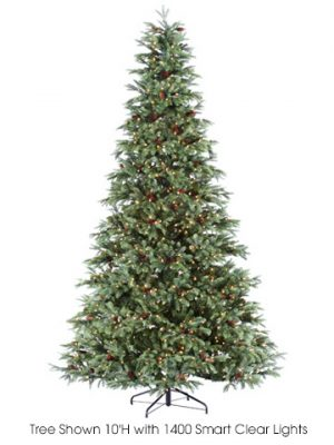 """7'Hx52""""D New England Pine(PE)Tree x1173 With 1250 RiceLights (ec) on Metal Stand Gre"""