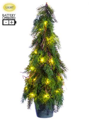 "30"" Battery Operated Cedar/ Pine Topiary Tree With 30 LED Light in Paper Mache Pot Two T"