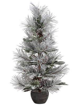 "32"" Snow Flocked Pine w/Cone/Leaf Tree Snow"