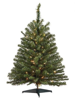 "3'Hx22""D Balsam Pine Tree x137 w/100 Clear Lights on Plastic Stand Green"