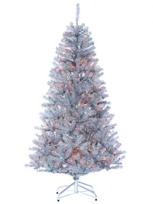 """6.5'Hx44""""D Tinsel Tree x972w/550 Multi Color Lights onMetal Stand Silver"""