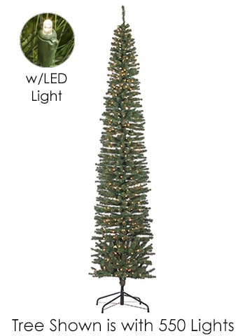 "10'Hx27""D Tower Tree x833 w/750 LED Lights on Metal Stand Green"