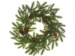 "24"" Noble Fir Wreath w/Cone Green"