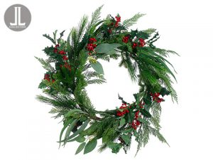 "30"" Cedar/Holly/Berry Wreath Green Red"