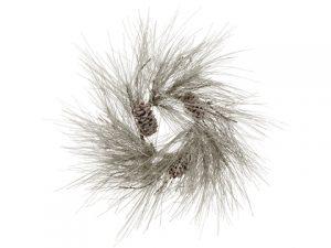 "24"" Snowy Long Needle Pine/Cone WreatH x 15Snow"