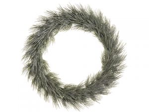 "20"" Glittered Long Needle Pine Wreath Green Glittered"