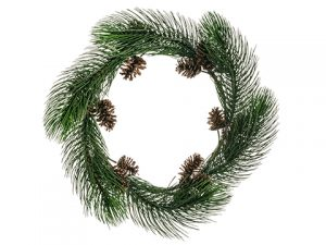 "30"" Long Needle Pine Wreath w/Cone Green"