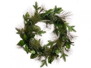 "28"" Mixed Pine/Magnolia Leaf/Pine Cone Wreath Green Brown"