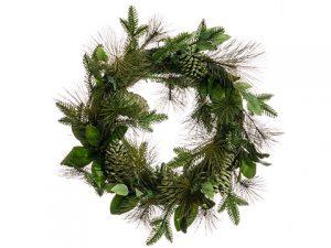 "28"" Mixed Pine/MagnoliaLeaf/Pine Cone WreathGreen Brown"