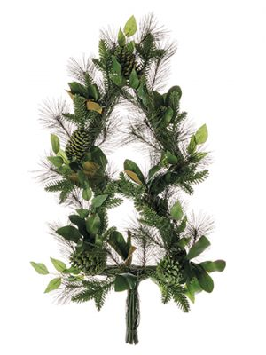 "40"" Mixed Pine/Magnolia Leaf/Pine Cone Christmas Tree Wreath Green Brown"