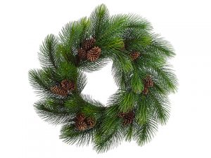 "44"" Long Needle Pine Wreath w/Cone Green"