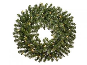 "24"" Balsam Pine WreatH x 180 w/50 Clear Lights Green"