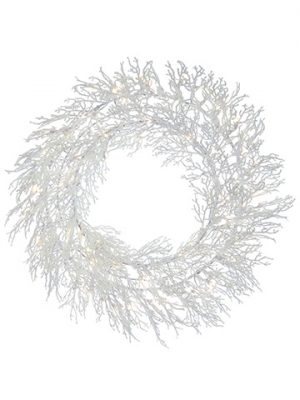 "42"" Snowed Plastic TwigWreatH x 160 With 100 LEDSLights White"