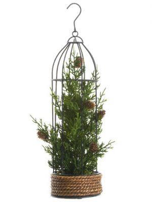 """16"""" Cedar/Pine Cone HangingBirdcageGreen"""