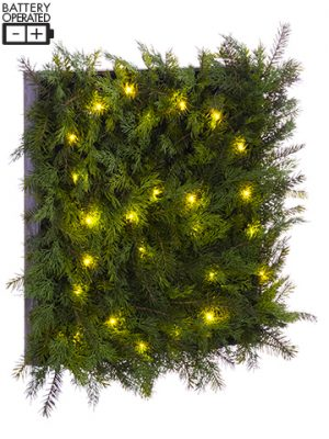 "25""W x 25""L Battery Operated Cedar/Pine Wall Decor With 25 LED Light Two Tone Green"