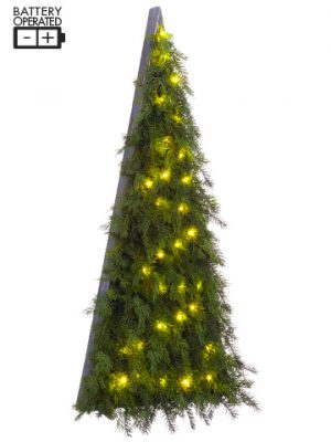 "51"" Battery Operated Cedar/ Pine Wall Decor With 30 LED Light Two Tone Green"