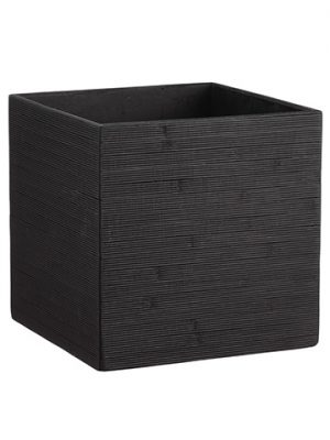 "12""H x 12""W x 12""L Bamboo Square Container Black"