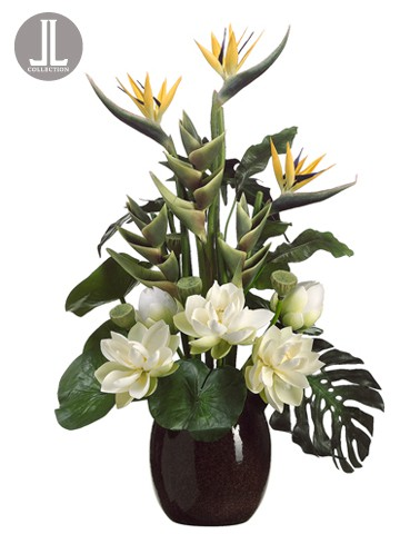 """45"""" Tropical Arrangement inCeramic Vase in Re-ShippableBox Green Yellow"""
