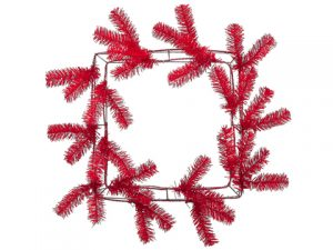 "14"" Pine Work Square Wreath x38 Red"