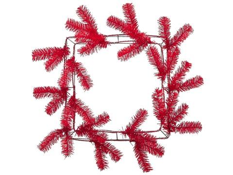 "14"" Pine Work Square Wreathx38Red"