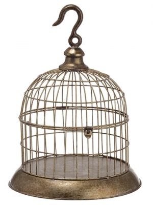 "16""H x 10.5""D Metal Bird Cage Antique Gray"