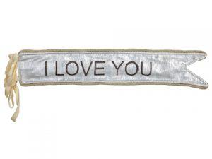 "4""W x 19""L I Love You Banner Silver Beige"