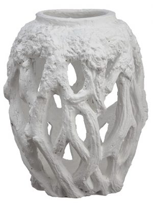 "10.5""H x 8""D Cement Antler Planter White"