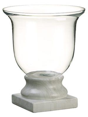 "15.25""H x 12.5""D Glass Vasew/Terra Cotta BaseClear White"