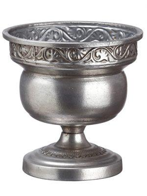 """6.75""""H x 6.75""""D Tin Urn Silver"""