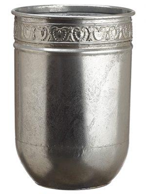 """15""""H x 11""""D Tin Planter Silver"""