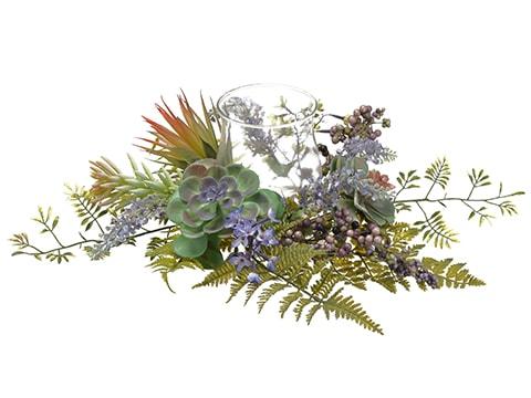 "6""H x 20""W x 20""L Lavender /Succulent / Fern CenterpieceWith Glass Candleholder Lavend"