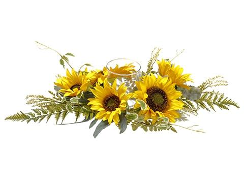 """6""""H x 17""""W x 29""""L Sunflower /Lamb's Ear / Fern CenterpieceWith Glass Candleholder Yellow"""