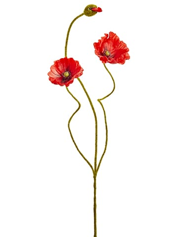 """24.4"""" Poppy Spray With 2Flowers And One BudRed"""