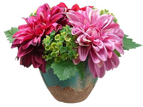 """6.5"""" Dahlia in Ceramic Vase Rubrum Purple"""
