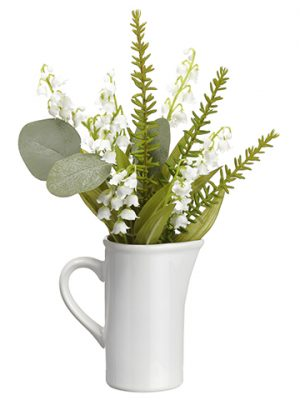 "12"" Lily of The Valley/ Eucalyptus in Ceramic Pitcher White Green"