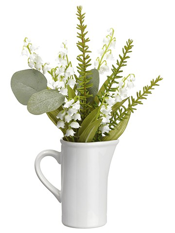 """12"""" Lily of The Valley/Eucalyptus in Ceramic PitcherWhite Green"""