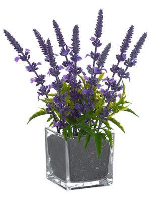 """10"""" Lavender in Glass Vase Lavender"""