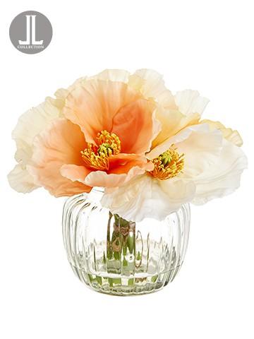 "7"" Poppy Bundle in Glass Vase Mixed"