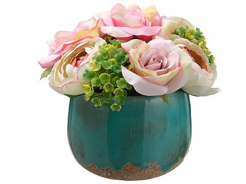 "6"" Rose/Hydrangea in CeramicVasePink Green"