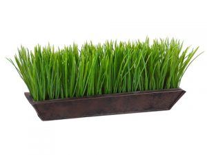 "6""H x 13""W Grass in Rectangular Tin Planter Green"