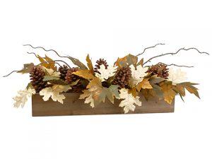 "9""H x 9""W x 27""L Maple/Oak Leaf/Pine Cone Centerpiece inWood Pot Green Beige"
