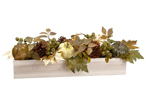 "10""H x 8""W x 25""L Pumpkin/Berry/ /Cone/Eucalyptus Centerpiece in Wood Pot Green Cream"