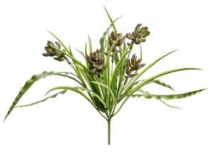 """12"""" Succulent/Grass Bush Green Burgundy"""
