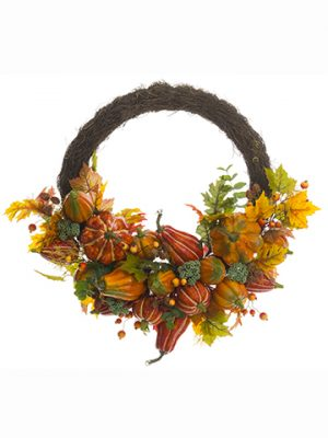 "30"" Pumpkin /Maple/Oak/Sedum/ Rosehip Half Wreath Fall"