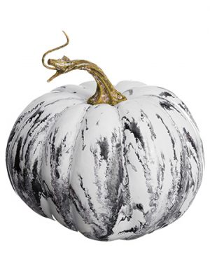 "4.5""H x 6""D Weighted Marble Look Pumpkin Gray White"