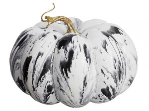 "5""H x 7.5""D Weighted Marble Look Pumpkin Gray White"