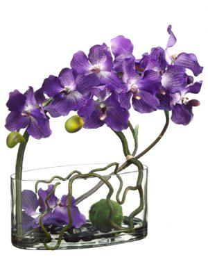 """18""""H x 7""""W x 14""""L VandaOrchid/Twig/Moss Ball inGlass Vase Purple"""