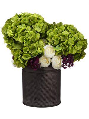 "19""H x 16""W x 16""LRanunculus/Hydrangea in TinPlanter Green Eggplant"