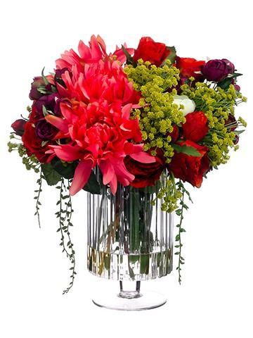 "15""H x 15""W x 16""LDahlia/Rose/Ranunculus inGlass Vase Brick Violet"